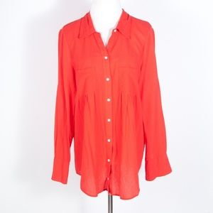 Joie Pinot Red Crinkle Blouse Button Down Shirt